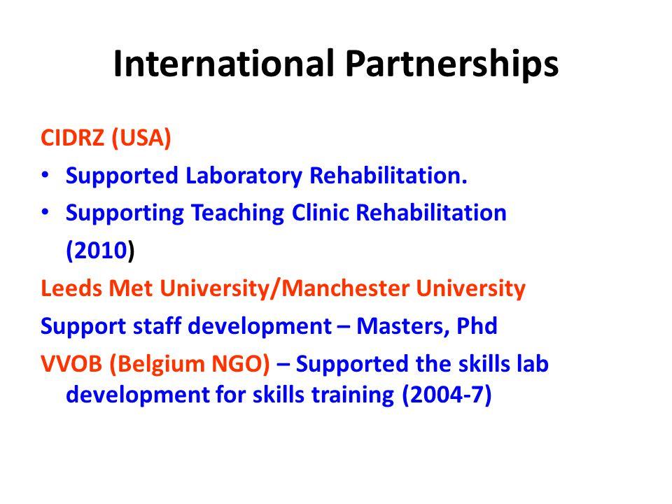 International Partnerships CIDRZ (USA) Supported Laboratory Rehabilitation.