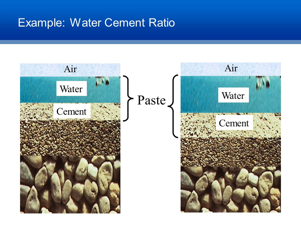 Example: Water Cement Ratio Cement Water Air Cement Water Air Paste