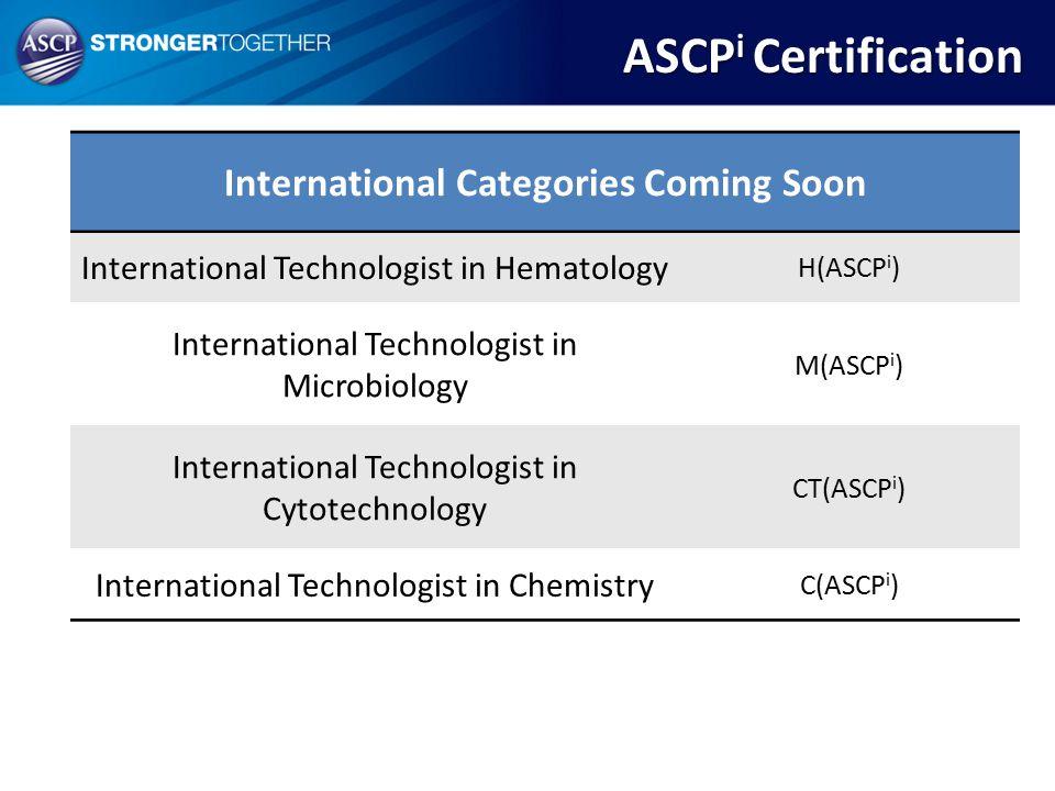 International Categories Coming Soon International Technologist in Hematology H(ASCP i ) International Technologist in Microbiology M(ASCP i ) Interna
