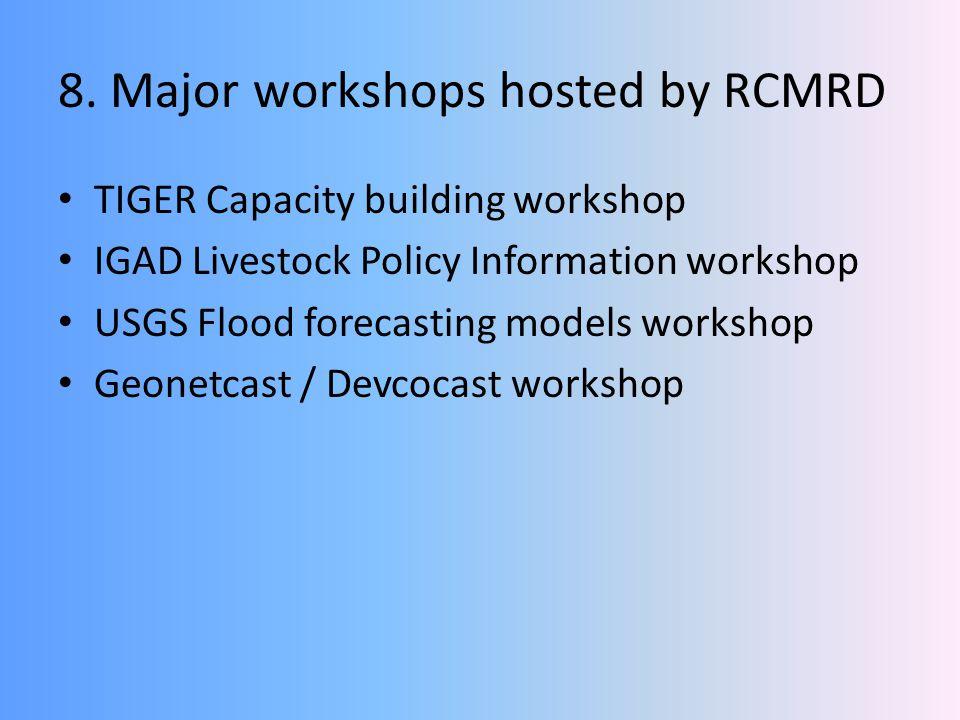 8. Major workshops hosted by RCMRD TIGER Capacity building workshop IGAD Livestock Policy Information workshop USGS Flood forecasting models workshop