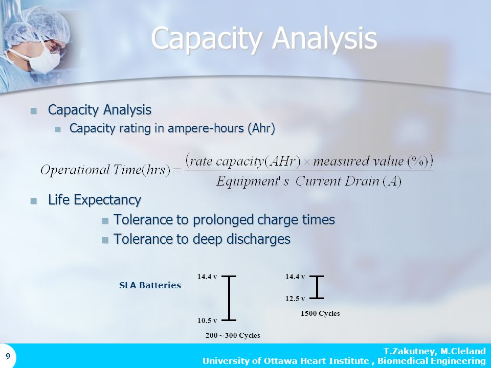 T.Zakutney, M.Cleland University of Ottawa Heart Institute, Biomedical Engineering 9 Capacity Analysis Capacity Analysis Capacity rating in ampere-hours (Ahr) Capacity rating in ampere-hours (Ahr) Life Expectancy Life Expectancy Tolerance to prolonged charge times Tolerance to prolonged charge times Tolerance to deep discharges Tolerance to deep discharges 14.4 v 10.5 v 14.4 v 12.5 v 200 ~ 300 Cycles 1500 Cycles Capacity Analysis SLA Batteries