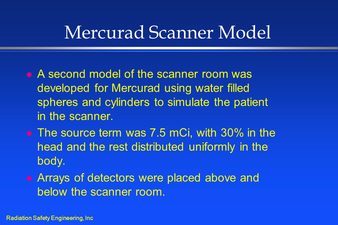 Radiation Safety Engineering, Inc Mercurad Scanner Model l A second model of the scanner room was developed for Mercurad using water filled spheres an