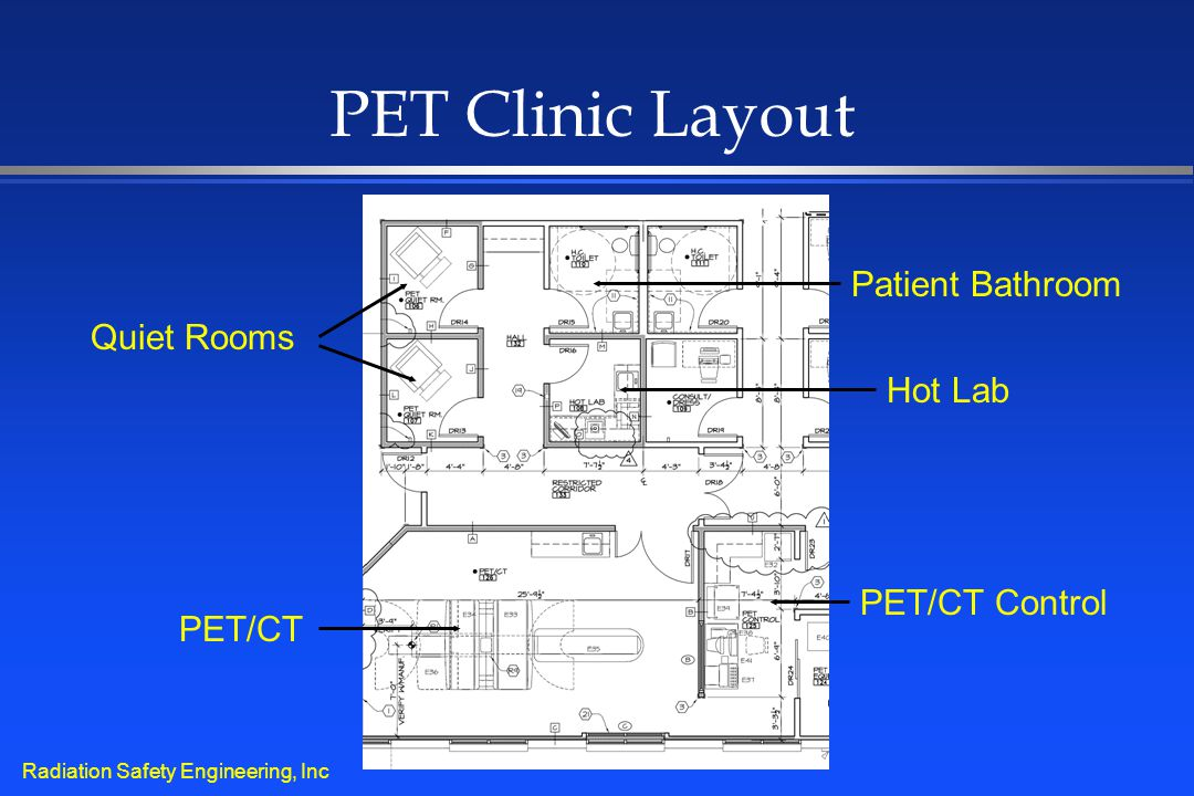 Radiation Safety Engineering, Inc PET Clinic Layout Quiet Rooms PET/CT Hot Lab PET/CT Control Patient Bathroom