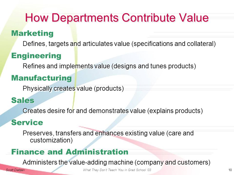 Scott DietzenWhat They Don't Teach You in Grad School '03 10 How Departments Contribute Value Marketing Defines, targets and articulates value (specifications and collateral) Engineering Refines and implements value (designs and tunes products) Manufacturing Physically creates value (products) Sales Creates desire for and demonstrates value (explains products) Service Preserves, transfers and enhances existing value (care and customization) Finance and Administration Administers the value-adding machine (company and customers) Marketing Defines, targets and articulates value (specifications and collateral) Engineering Refines and implements value (designs and tunes products) Manufacturing Physically creates value (products) Sales Creates desire for and demonstrates value (explains products) Service Preserves, transfers and enhances existing value (care and customization) Finance and Administration Administers the value-adding machine (company and customers)