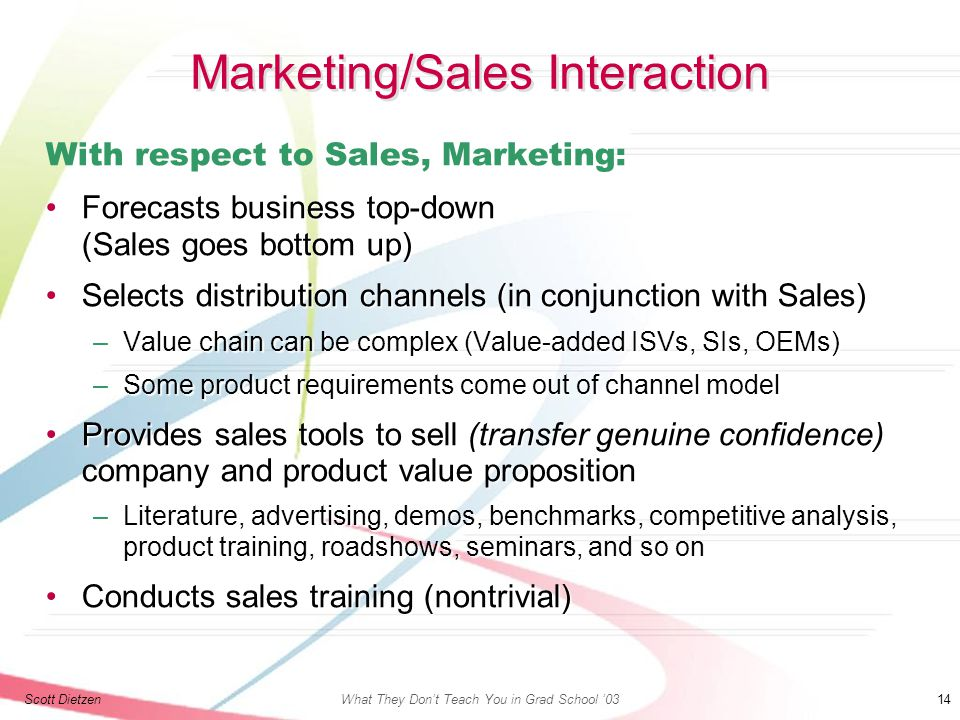 Scott DietzenWhat They Don't Teach You in Grad School '03 14 Marketing/Sales Interaction With respect to Sales, Marketing: Forecasts business top-down (Sales goes bottom up)Forecasts business top-down (Sales goes bottom up) Selects distribution channels (in conjunction with Sales)Selects distribution channels (in conjunction with Sales) –Value chain can be complex (Value-added ISVs, SIs, OEMs) –Some product requirements come out of channel model Provides sales tools to sell (transfer genuine confidence) company and product value propositionProvides sales tools to sell (transfer genuine confidence) company and product value proposition –Literature, advertising, demos, benchmarks, competitive analysis, product training, roadshows, seminars, and so on Conducts sales training (nontrivial)Conducts sales training (nontrivial)