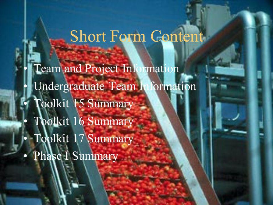 Short Form Content Phase II Work Undergraduate SDA Information Toolkit 18 Summary Toolkit 19 Summary Toolkit 20 Summary Conclusions Recommendations