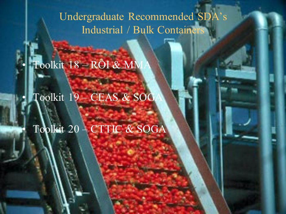 Undergraduate Recommended SDA's Industrial / Bulk Containers Toolkit 18 – ROI & MMA Toolkit 19 – CEAS & SOGA Toolkit 20 – CTTIC & SOGA