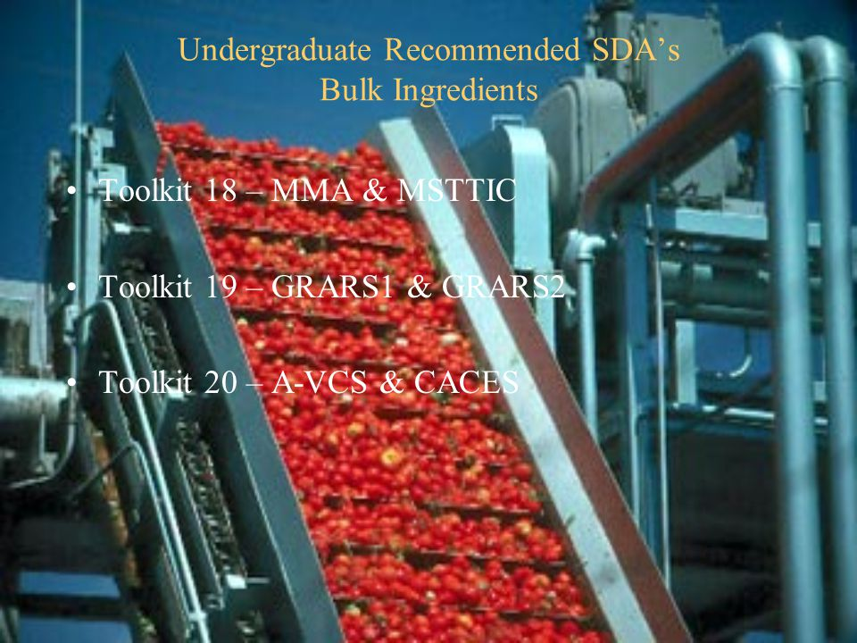 Undergraduate Recommended SDA's Bulk Ingredients Toolkit 18 – MMA & MSTTIC Toolkit 19 – GRARS1 & GRARS2 Toolkit 20 – A-VCS & CACES