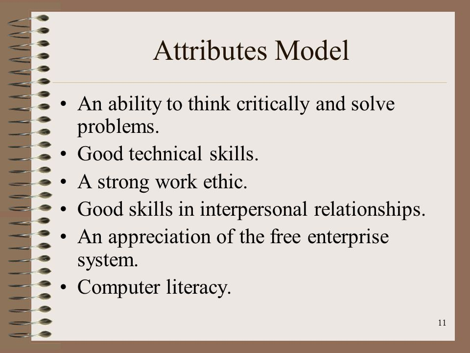 11 Attributes Model An ability to think critically and solve problems.