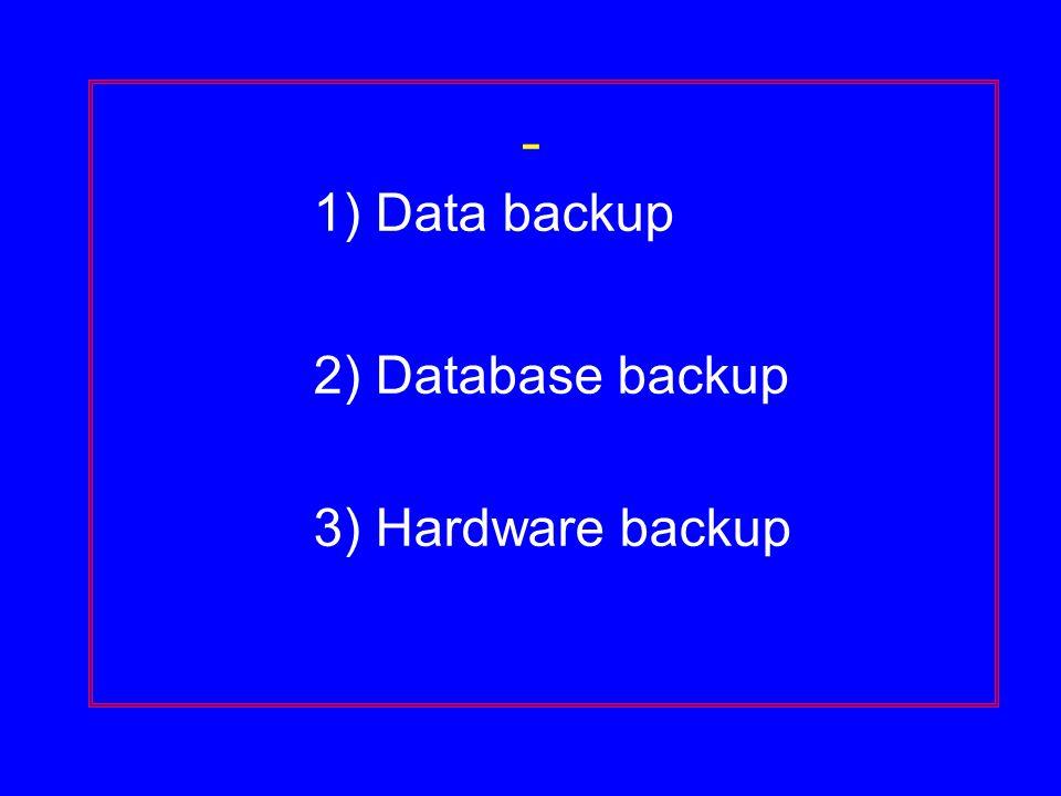 - 1) Data backup 2) Database backup 3) Hardware backup
