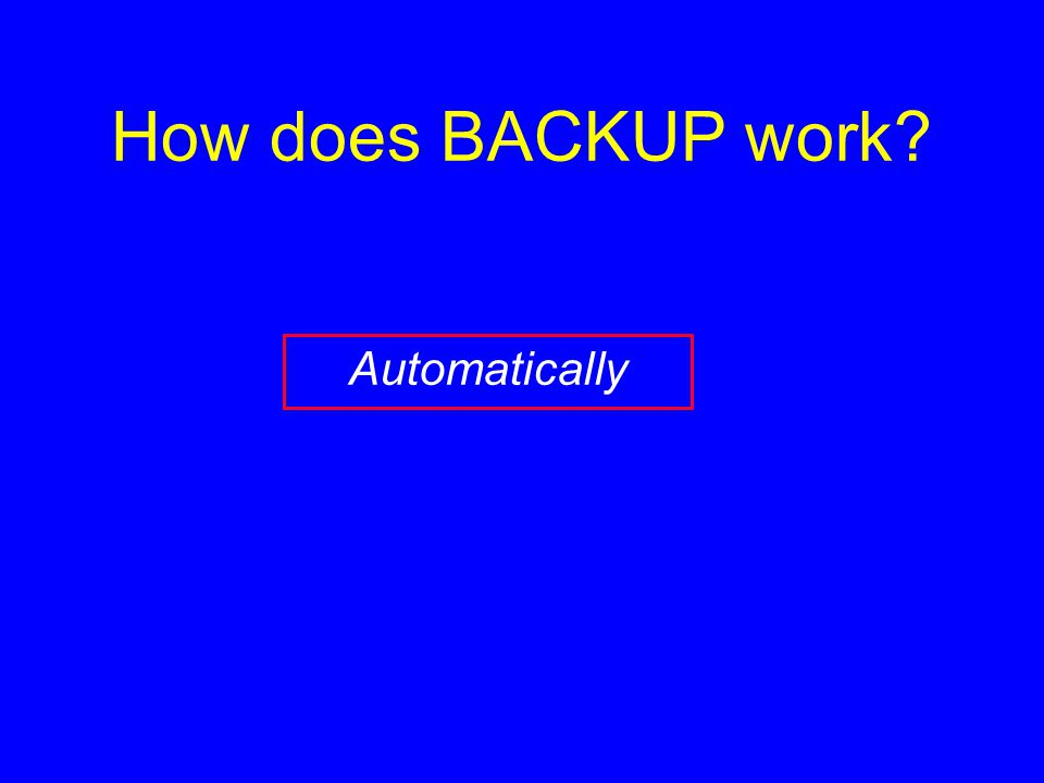 How does BACKUP work? Automatically