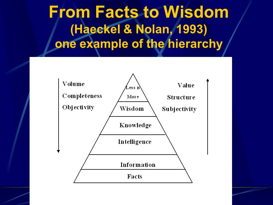 From Facts to Wisdom (Haeckel & Nolan, 1993) one example of the hierarchy
