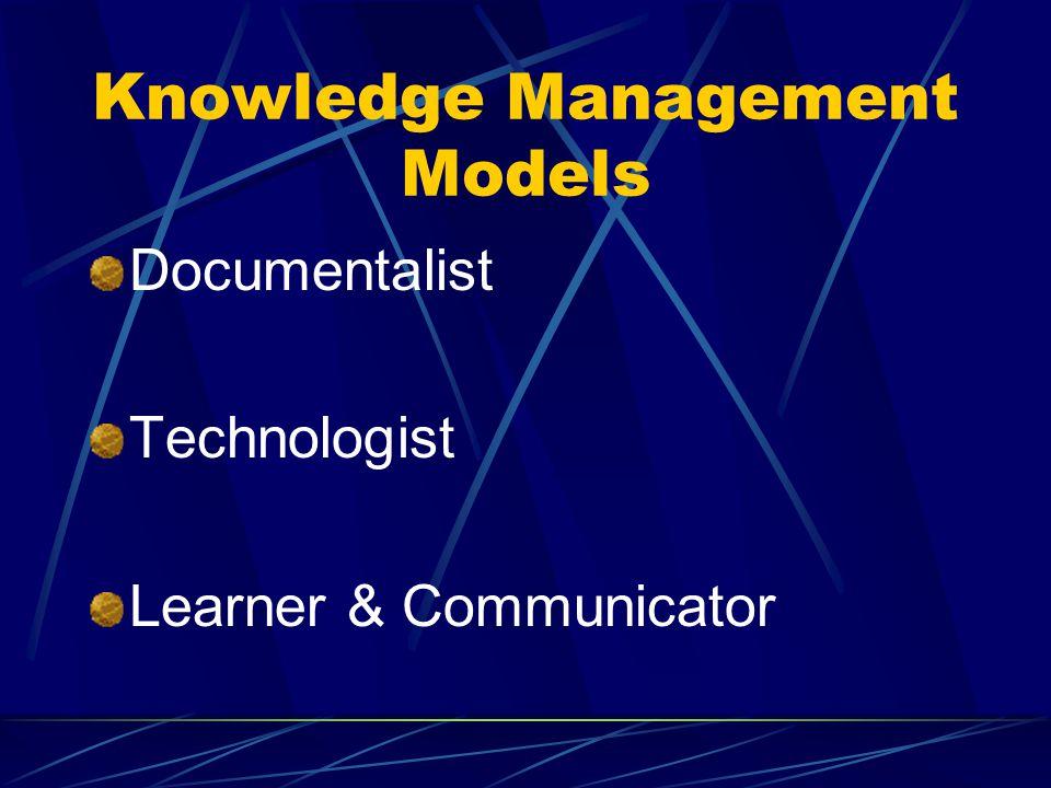 Knowledge Management Models Documentalist Technologist Learner & Communicator