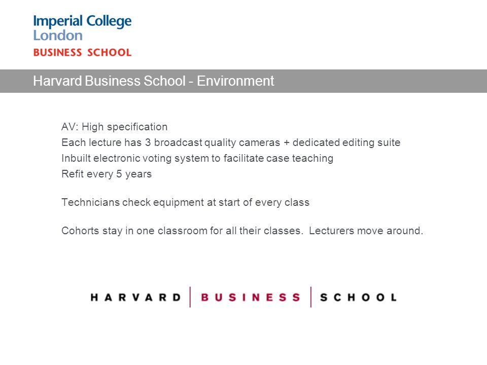Harvard Business School - Environment AV: High specification Each lecture has 3 broadcast quality cameras + dedicated editing suite Inbuilt electronic voting system to facilitate case teaching Refit every 5 years Technicians check equipment at start of every class Cohorts stay in one classroom for all their classes.