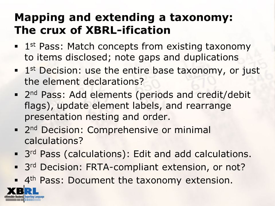 Mapping and extending a taxonomy: The crux of XBRL-ification  1 st Pass: Match concepts from existing taxonomy to items disclosed; note gaps and duplications  1 st Decision: use the entire base taxonomy, or just the element declarations.