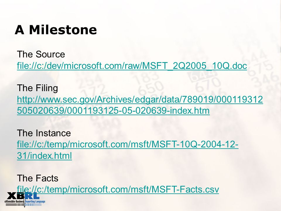 A Milestone The Source file://c:/dev/microsoft.com/raw/MSFT_2Q2005_10Q.doc The Filing http://www.sec.gov/Archives/edgar/data/789019/000119312 505020639/0001193125-05-020639-index.htm The Instance file://c:/temp/microsoft.com/msft/MSFT-10Q-2004-12- 31/index.html The Facts file://c:/temp/microsoft.com/msft/MSFT-Facts.csv