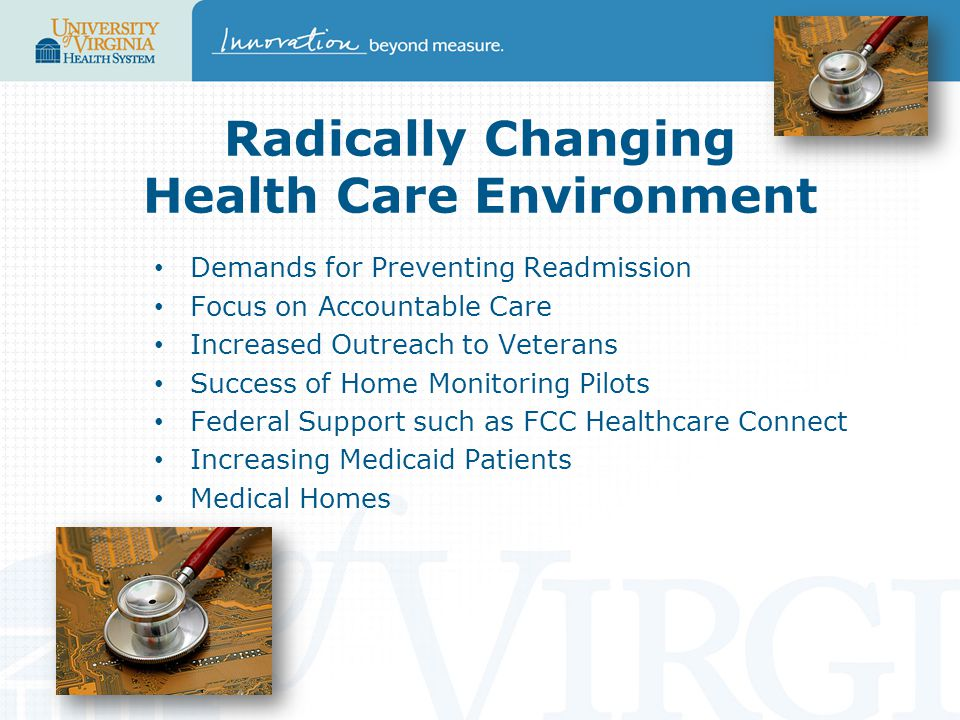 Radically Changing Health Care Environment Demands for Preventing Readmission Focus on Accountable Care Increased Outreach to Veterans Success of Home Monitoring Pilots Federal Support such as FCC Healthcare Connect Increasing Medicaid Patients Medical Homes