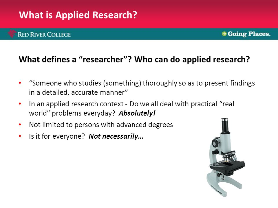 What is Applied Research. What defines a researcher .