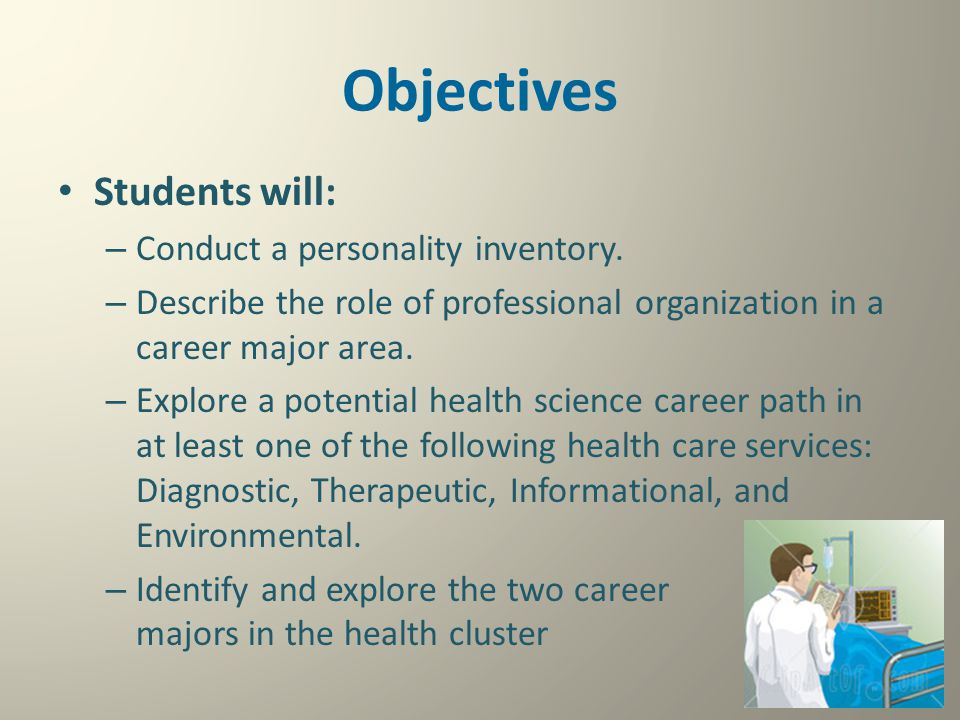 Objectives Students will: – Conduct a personality inventory. – Describe the role of professional organization in a career major area. – Explore a pote