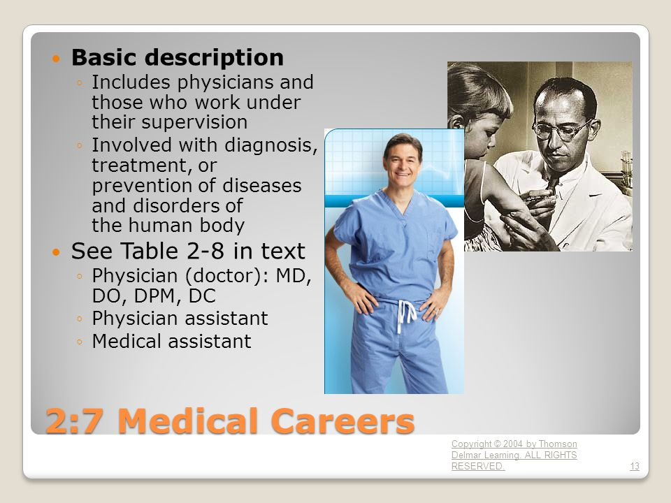 2:7 Medical Careers Basic description ◦Includes physicians and those who work under their supervision ◦Involved with diagnosis, treatment, or prevention of diseases and disorders of the human body See Table 2-8 in text ◦Physician (doctor): MD, DO, DPM, DC ◦Physician assistant ◦Medical assistant Copyright © 2004 by Thomson Delmar Learning.
