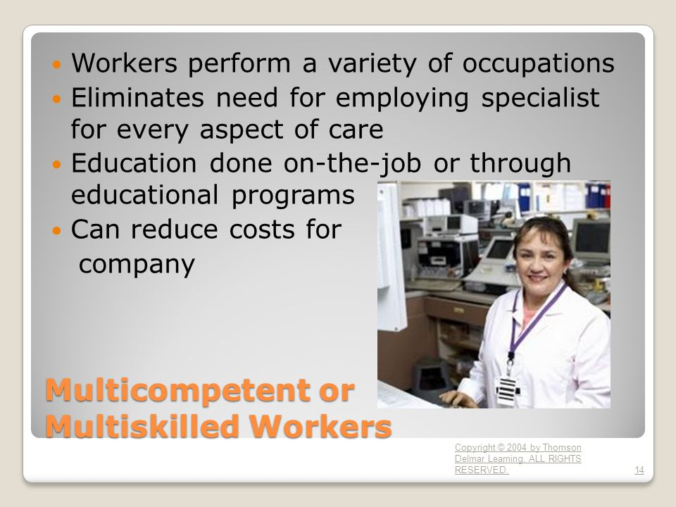 Multicompetent or Multiskilled Workers Workers perform a variety of occupations Eliminates need for employing specialist for every aspect of care Education done on-the-job or through educational programs Can reduce costs for company Copyright © 2004 by Thomson Delmar Learning.