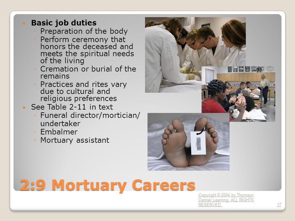 2:9 Mortuary Careers Basic job duties ◦Preparation of the body ◦Perform ceremony that honors the deceased and meets the spiritual needs of the living ◦Cremation or burial of the remains ◦Practices and rites vary due to cultural and religious preferences See Table 2-11 in text ◦Funeral director/mortician/ undertaker ◦Embalmer ◦Mortuary assistant Copyright © 2004 by Thomson Delmar Learning.