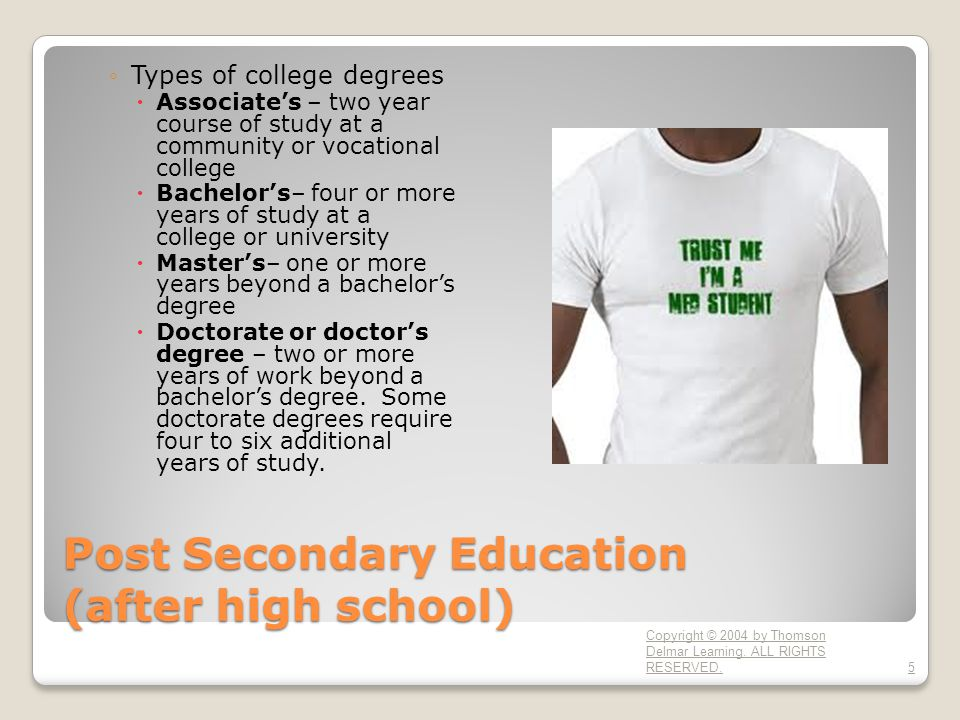 Post Secondary Education (after high school) ◦Types of college degrees  Associate's – two year course of study at a community or vocational college  Bachelor's– four or more years of study at a college or university  Master's– one or more years beyond a bachelor's degree  Doctorate or doctor's degree – two or more years of work beyond a bachelor's degree.