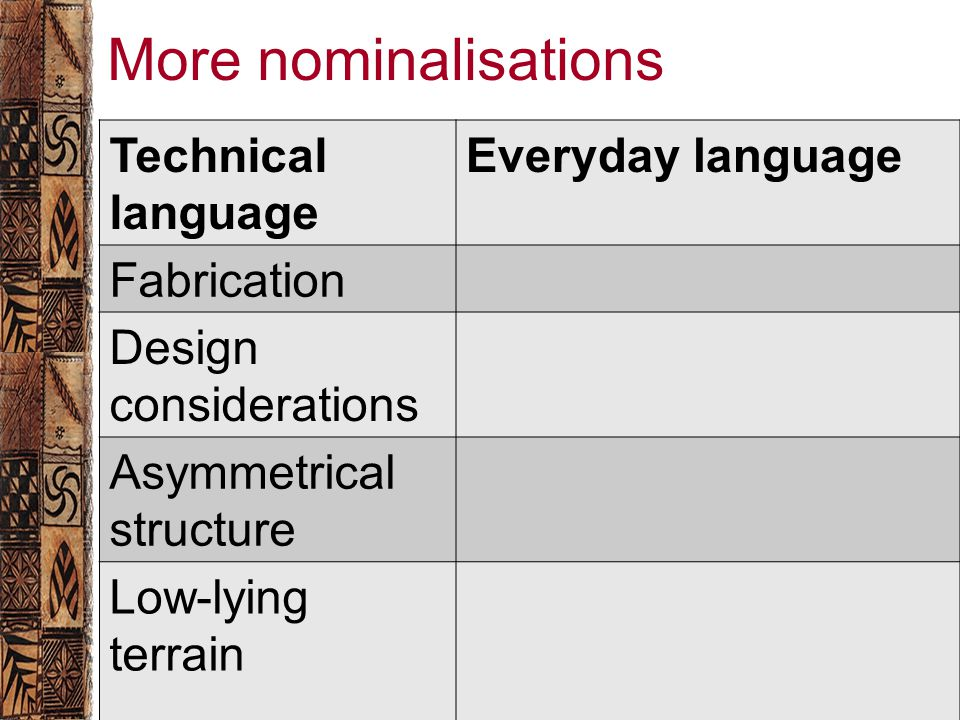 More nominalisations Technical language Everyday language Fabrication Design considerations Asymmetrical structure Low-lying terrain