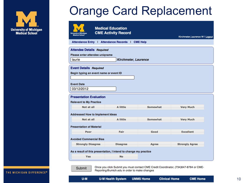10 Orange Card Replacement