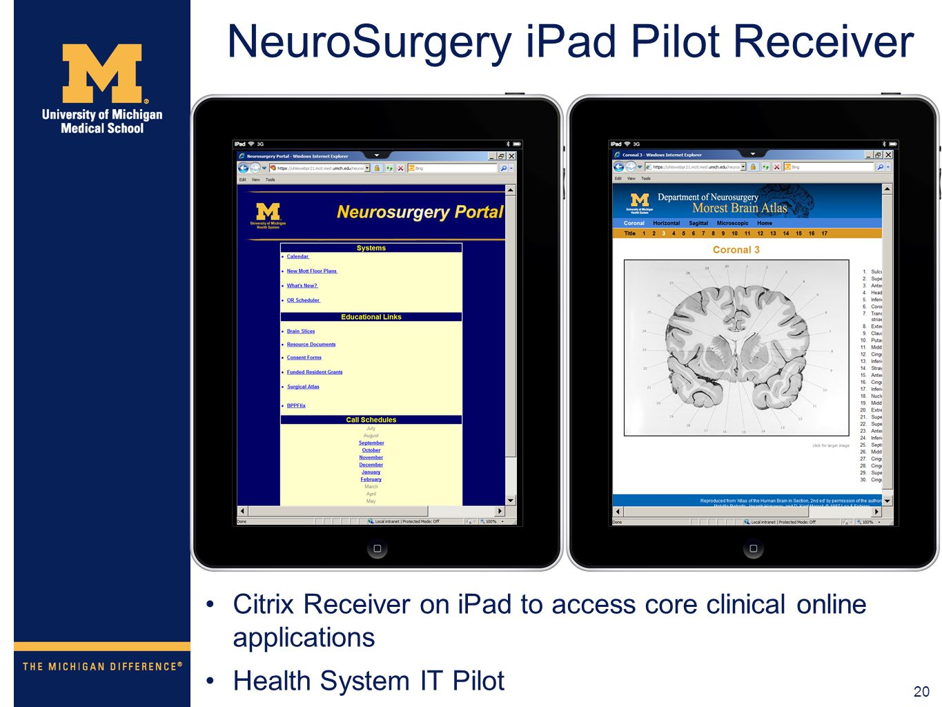 20 NeuroSurgery iPad Pilot Receiver Citrix Receiver on iPad to access core clinical online applications Health System IT Pilot
