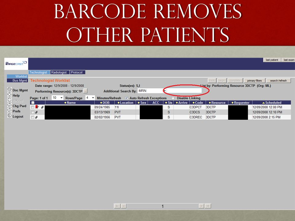 Barcode removes other patients
