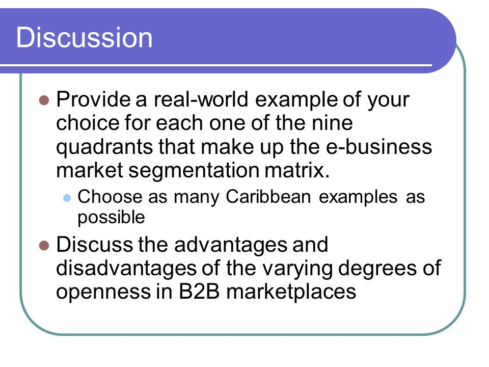 Discussion Provide a real-world example of your choice for each one of the nine quadrants that make up the e-business market segmentation matrix. Choo