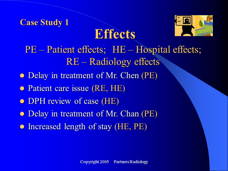 Copyright 2005 Partners Radiology Effects Case Study 1 PE – Patient effects; HE – Hospital effects; RE – Radiology effects Delay in treatment of Mr. C