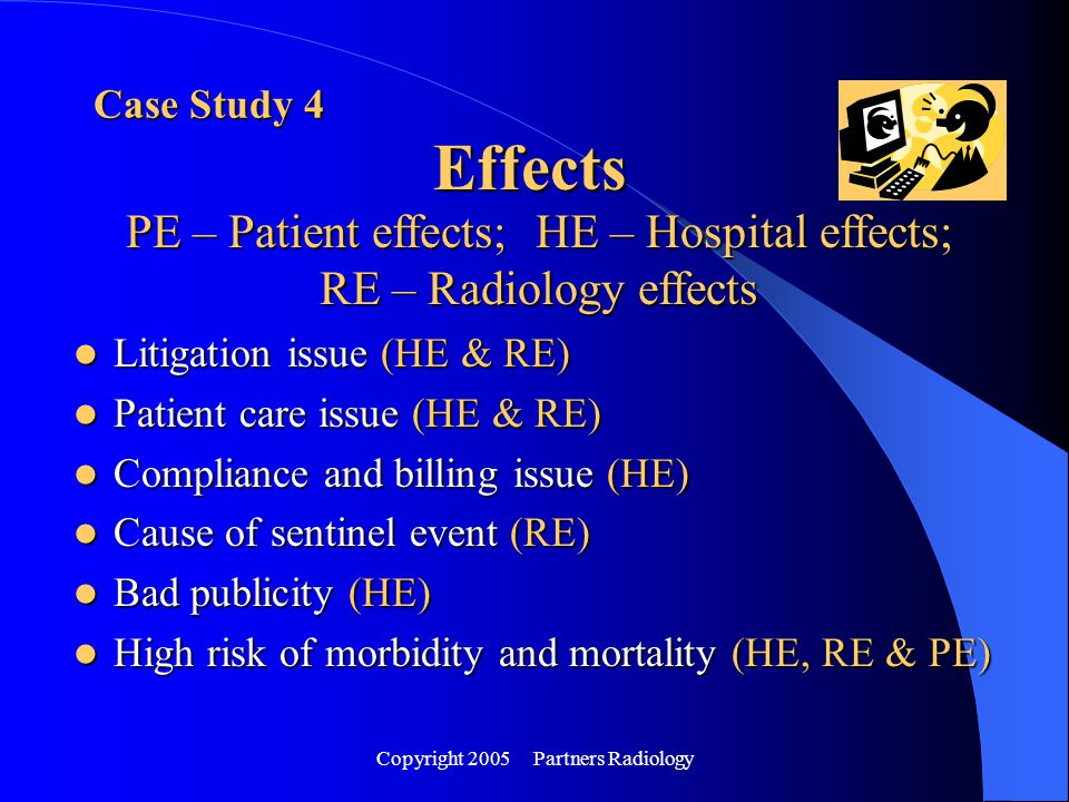 Copyright 2005 Partners Radiology Case Study 4 Effects PE – Patient effects; HE – Hospital effects; RE – Radiology effects Litigation issue (HE & RE)