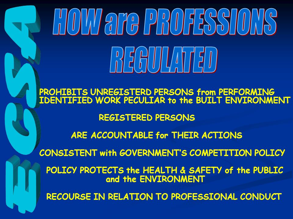 PROHIBITS UNREGISTERD PERSONS from PERFORMING IDENTIFIED WORK PECULIAR to the BUILT ENVIRONMENT identified work is reserved for REGISTERED PERSONS who ARE ACCOUNTABLE for THEIR ACTIONS in a manner CONSISTENT with GOVERNMENT'S COMPETITION POLICY which POLICY PROTECTS the HEALTH & SAFETY of the PUBLIC and the ENVIRONMENT and provides RECOURSE IN RELATION TO PROFESSIONAL CONDUCT