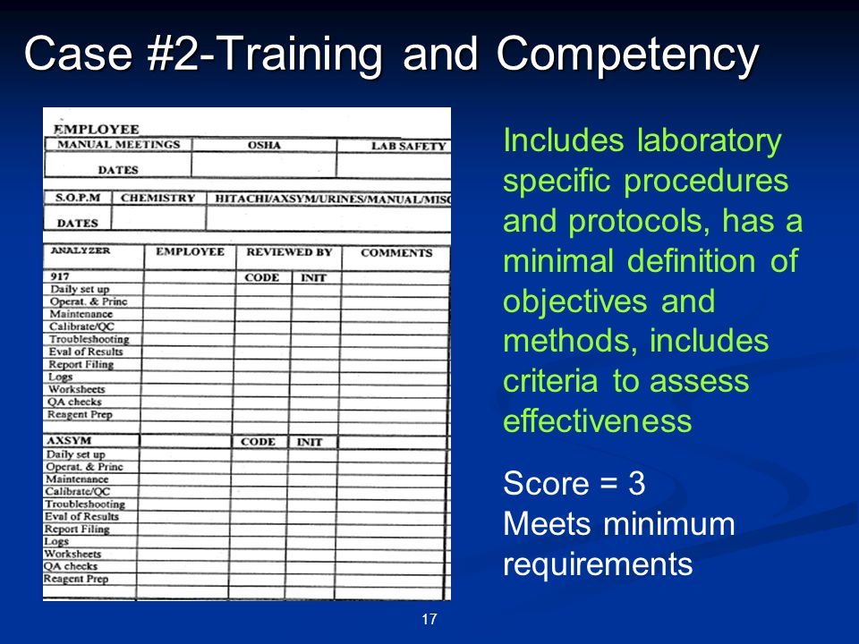 17 Case #2-Training and Competency Includes laboratory specific procedures and protocols, has a minimal definition of objectives and methods, includes