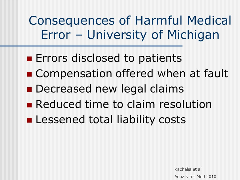 Consequences of Harmful Medical Error – University of Michigan Errors disclosed to patients Compensation offered when at fault Decreased new legal claims Reduced time to claim resolution Lessened total liability costs Kachalia et al Annals Int Med 2010