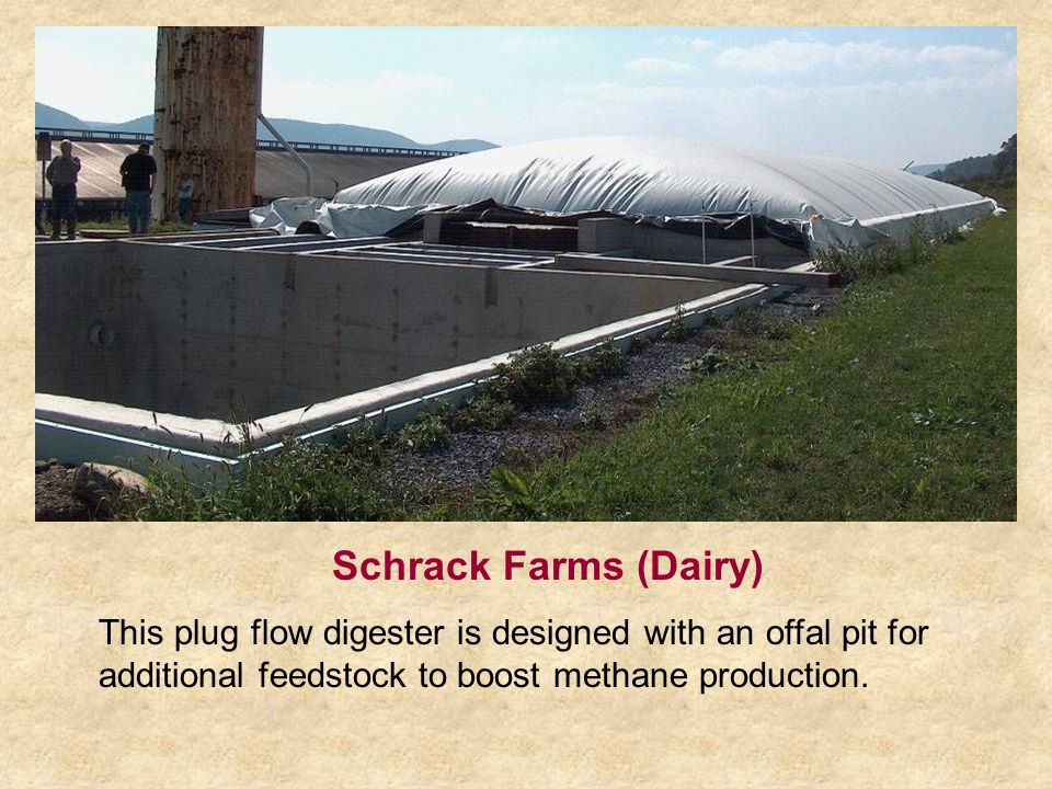 Schrack Farms (Dairy) This plug flow digester is designed with an offal pit for additional feedstock to boost methane production.