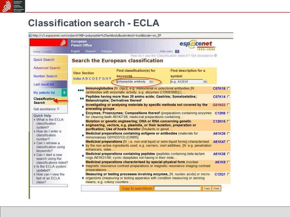Classification search - ECLA