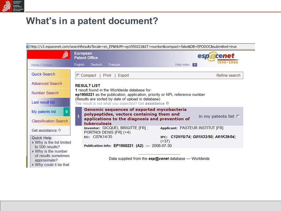 What s in a patent document