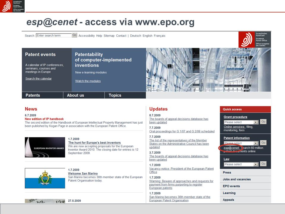 esp@cenet - access via www.epo.org
