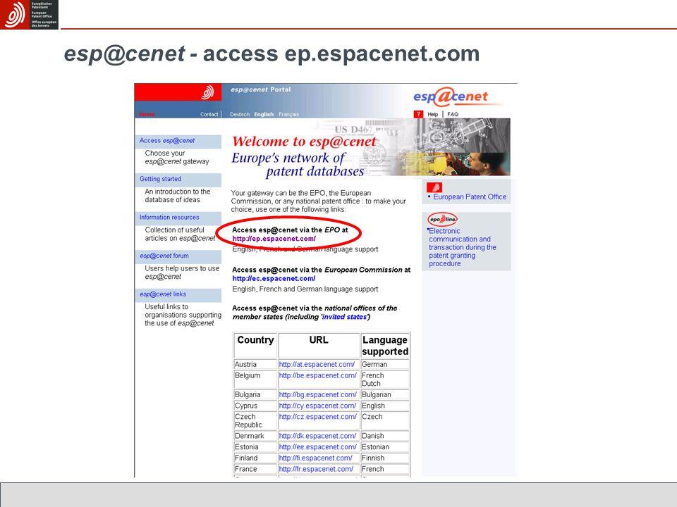 esp@cenet - access ep.espacenet.com