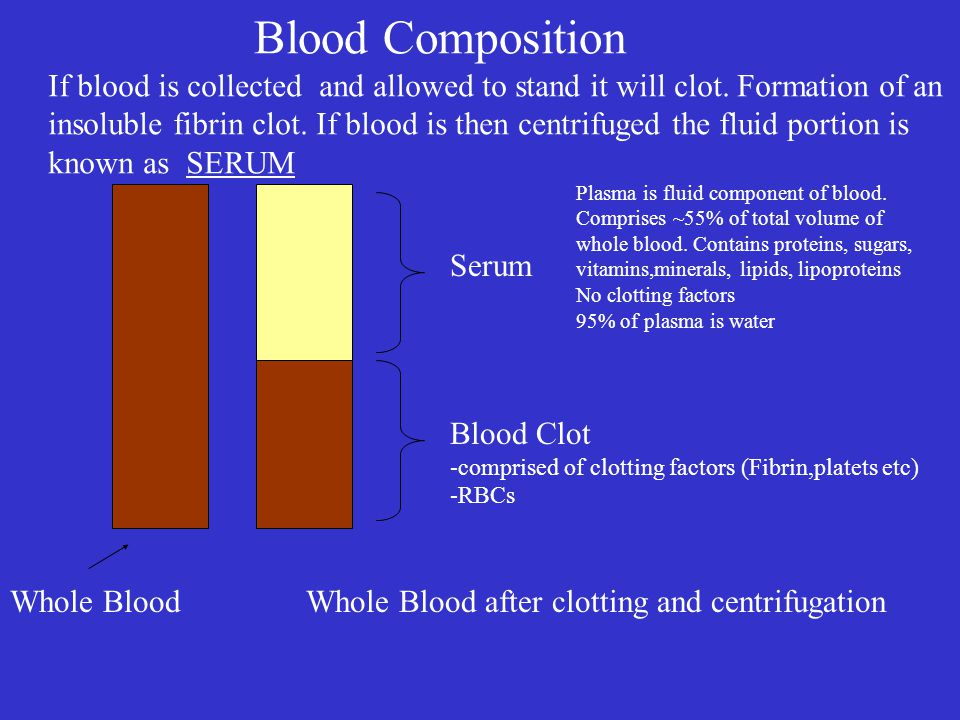 Blood Composition Serum Plasma is fluid component of blood. Comprises ~55% of total volume of whole blood. Contains proteins, sugars, vitamins,mineral