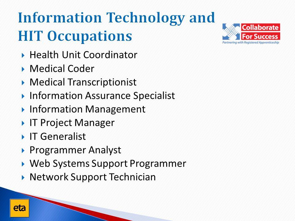 Information Technology and HIT Occupations  Health Unit Coordinator  Medical Coder  Medical Transcriptionist  Information Assurance Specialist  I