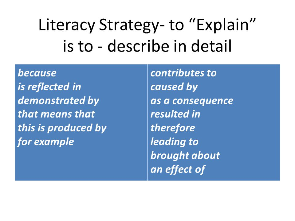 Literacy Strategy- to Explain is to - describe in detail because is reflected in demonstrated by that means that this is produced by for example contributes to caused by as a consequence resulted in therefore leading to brought about an effect of