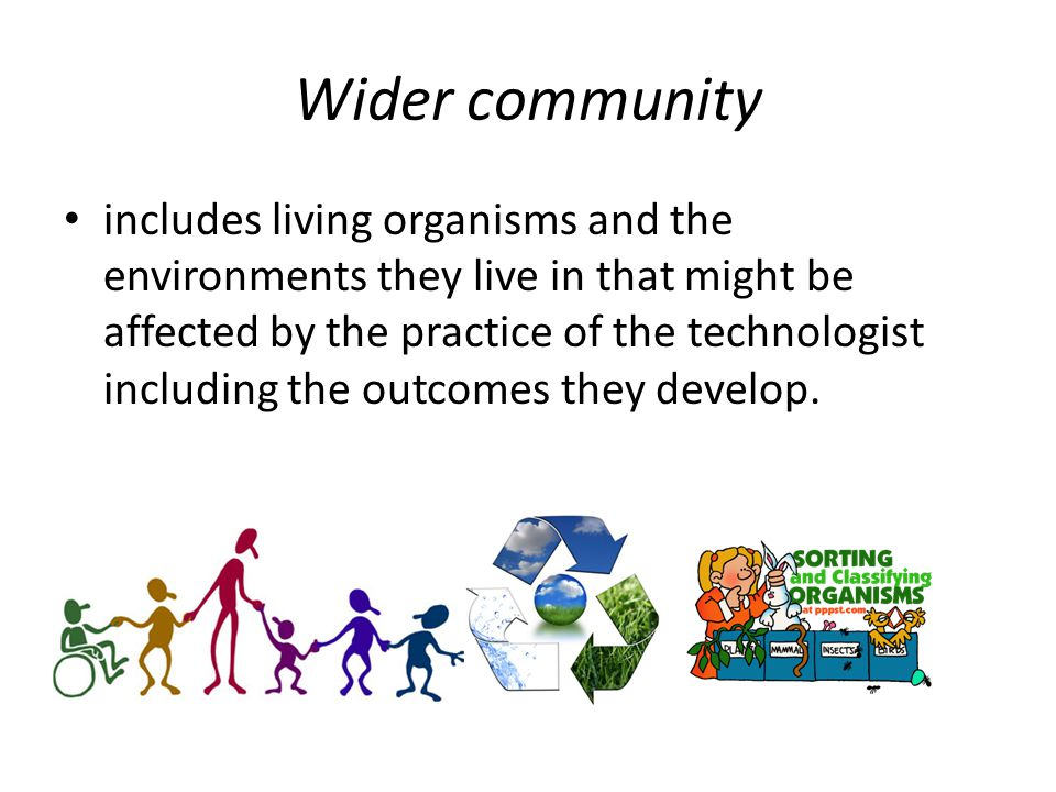 Wider community includes living organisms and the environments they live in that might be affected by the practice of the technologist including the outcomes they develop.