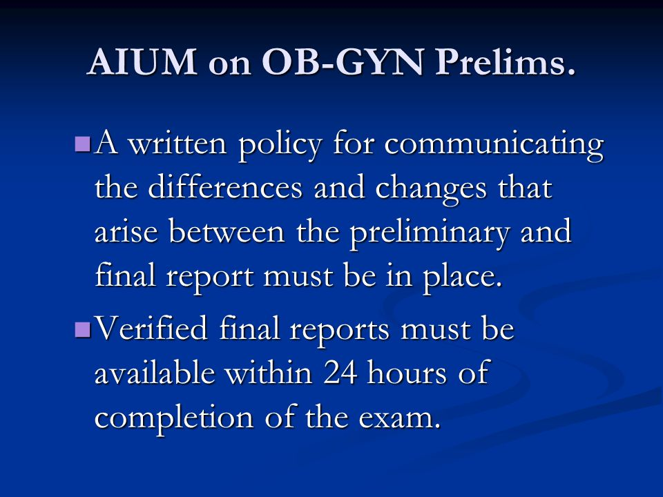 AIUM on OB-GYN Prelims.