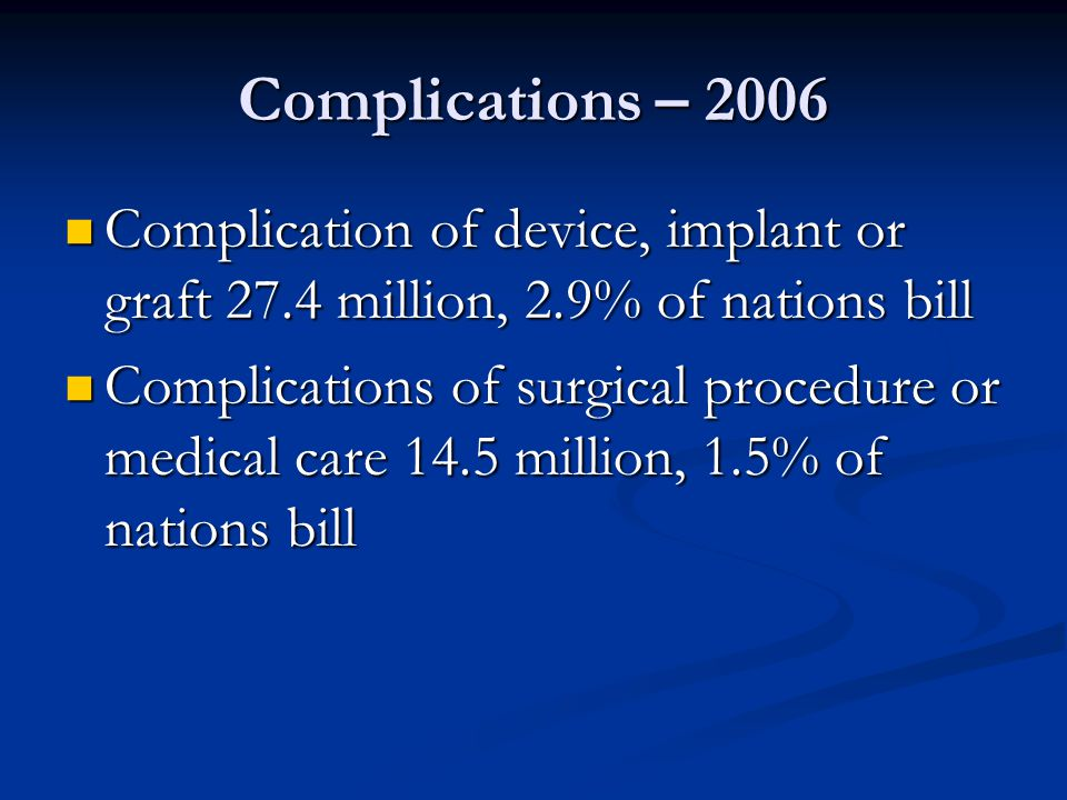 Complications – 2006 Complication of device, implant or graft 27.4 million, 2.9% of nations bill Complication of device, implant or graft 27.4 million, 2.9% of nations bill Complications of surgical procedure or medical care 14.5 million, 1.5% of nations bill Complications of surgical procedure or medical care 14.5 million, 1.5% of nations bill