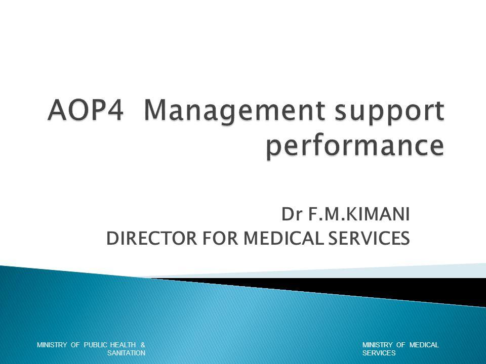 Dr F.M.KIMANI DIRECTOR FOR MEDICAL SERVICES MINISTRY OF MEDICAL SERVICES MINISTRY OF PUBLIC HEALTH & SANITATION