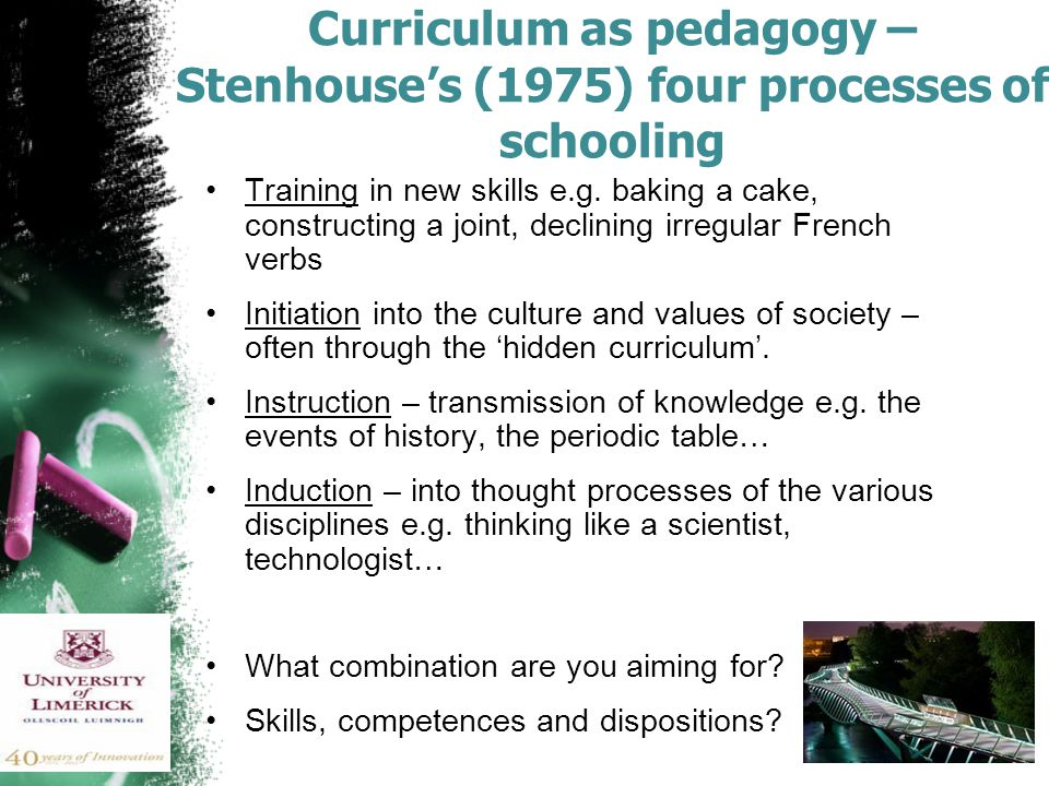 Curriculum as pedagogy – Stenhouse's (1975) four processes of schooling Training in new skills e.g.